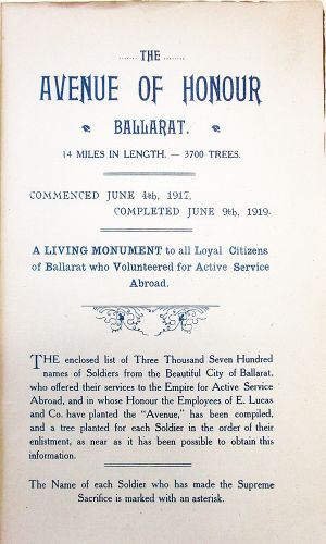 Avenue of Honour booklet 1919