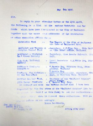 Funds Letter 8 May 1916