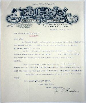 M L THOMPSON letter 20 Oct 1919