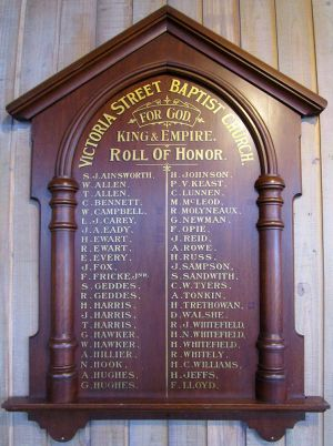 Victoria St Baptist Roll of Honor