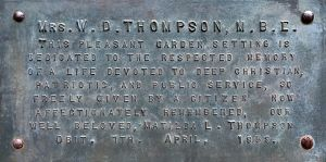 Mrs W D THOMPSON plaque 1959