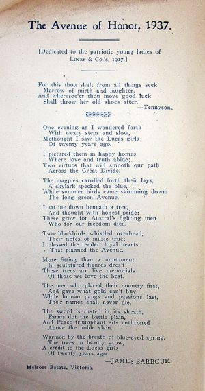 Avenue of Honour 1937 poem