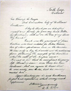 A E DAVIS letter, North Lodge, 1919