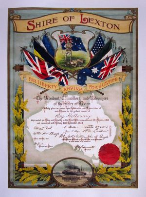 Roy HOLLOWAY, Shire of Lexton Certificate 1919