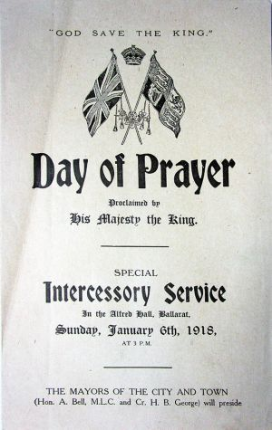 Day of Prayer Ballarat 6 Jan 1918