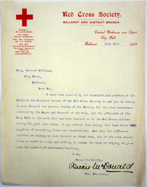 Red Cross Letter 1919