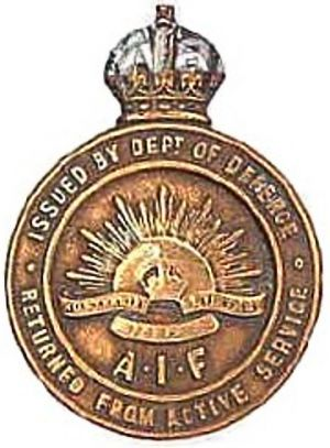 WW1 Returned From Active Service AIF lapel badge